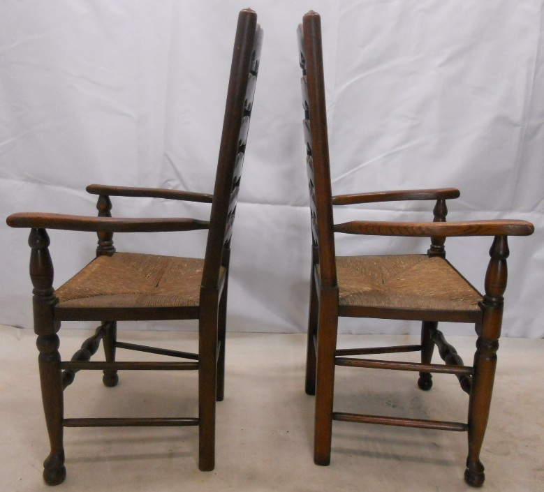 Pair Elm Ladderback Carver Rush Seat Kitchen Armchairs